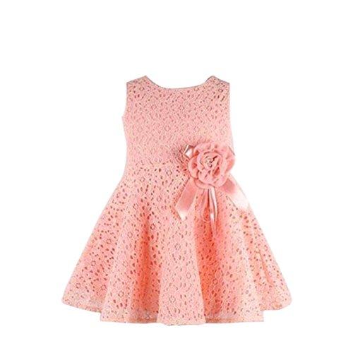 Jahre alt) Kolylong 1PC Blumenspitze Prinzessin Party Kleid (130(6-7 Jahr), Rosa) (Kinder Rosa Kleid)