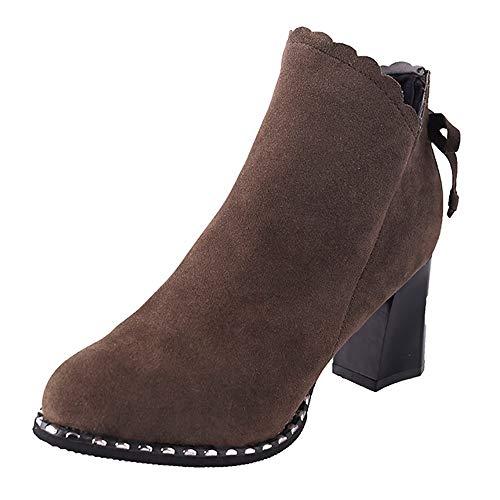 Stivali donna invernali,liuchehd stivaletti donna stivali flat scamosciato con tacco invernale bassi blocco eleganti moda comode chelsea ankle boots