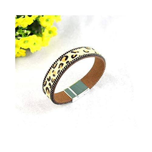 Armreif mit Kette, Pure Hand-Made Horse Hair Leather Magnet Buckle Bracelet Korean Cashmere Material Leopard Pattern Female Casual Bracelet 2 Cashmere-arm