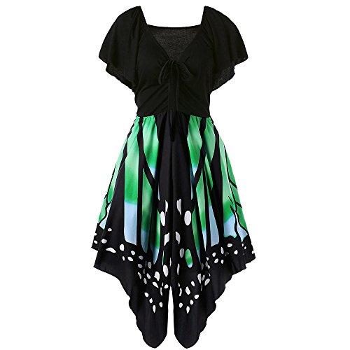 ärmellos sommerkleid Frauen Sleeveless Schmetterlings Drucken Asymmetrie Bügel Kleid Butterfly tube kleid strandkleider partykleid abendkleid minikleid (XXL, Y-Grün) (Karnevalskostüme)