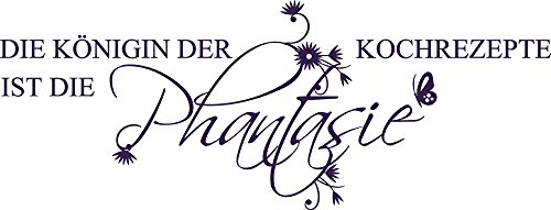GRAZDesign 620098_30_040 Wandtattoo Die Königin der Kochrezepte ist die … für Küchen-Wand | Küchen-Sprüche für Küchenschränke | Wandsticker aus Klebefolie - auch im Esszimmer dekorieren (79x30cm // 040 violett)