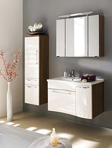 Badset in walnuss-weiß bestehend aus Waschplatz mit Mineralgussbecken, Spiegelschrank mit Beleuchtung und Hochschrank