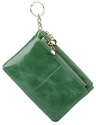 Yaluxe Women's Luxury Wax Leather Card Holder Triple Zipper Coin Wallet with Key Ring (Gift Box) Light Green