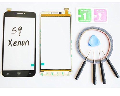 JRLinco Für Archos 59 Xenon Glas Bildschirm Display Touchscreen Ersatzteil ( Ohne LCD ) Für Archos 59 Xenon Schwarz + Werkzeuge & doppelseitigen Kleber + Alkohol Reiniger Paket Lcd-xenon