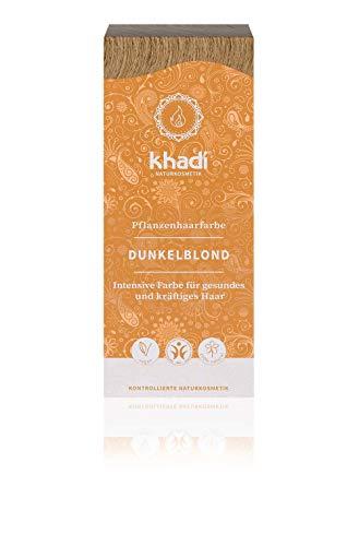 khadi Pflanzenhaarfarbe Dunkelblond 100g I Haarfarbe Blond ohne Rotanteile I Naturhaarfarbe 100% natürlich und vegan -