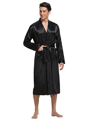 Aibrou Herren Morgenmantel Bademantel Lang Satin Nachtwäsche Kimono Sleepwear V Ausschnitt mit Gürtel Schwarz S
