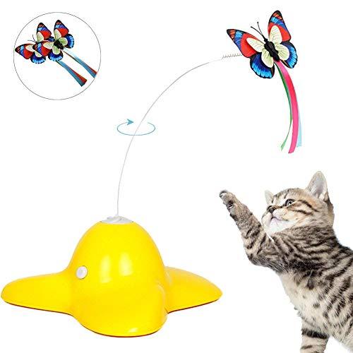 Xiruisz Elektrische Katze Spielzeug,Interaktives, drehendem Schmetterling Teaser Spielzeug,mit Zwei ersatz blinkende Schmetterlinge Spielzeug für Katzen (Gelb)