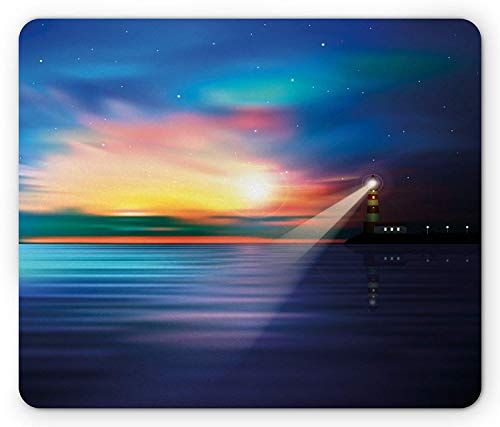WYICPLO Lighthouse Mouse Pad, Majestic Dreamy Sky and Ocean Stars Rising Sun Beacon Bay Beach, Standard Size Rectangle Non-Slip Rubber Mousepad, Dark Blue Pale Blue Coral Nd Beacon