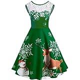 Tohole Damen Weihnachtskleider Vintage Xmas Christmas Dress Swing Spitzenkleid O-Neck Printed A-Linie Ärmellos Swing Kleid Weihnachtsdeko Cocktailkleid Weihnachtsmann Festlich Kleid(B Grün,XL)