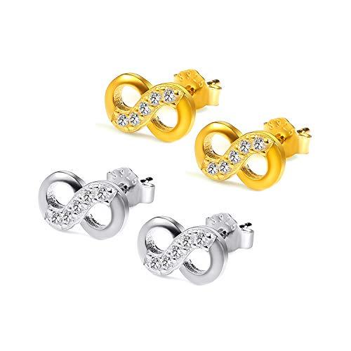 2 Paars Damen Infinity Ohrstecker 925 Sterling Silber Zirkonia Modisch Ohrringe Ohrschmuck Mädchen Infinity Unendlichkeitszeichen 925 Silber Symbol Liebe Infinity-Silber and Gold