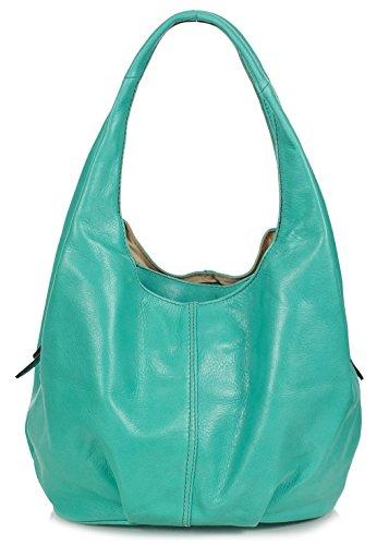 Handtasche Damen Hobo Bag | geräumige Damentasche aus Rindsleder | Hobo Bag Leder Damen | Nappaleder Tasche Damen mit 3 Fächern | 30x25x17cm, Farben:Türkis Türkis
