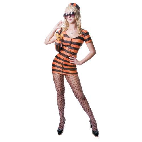 Im Kostüm Prinzessin Gefängnis - Dress Up America Erwachsene Sexy Orange gestreiften Gefangenen Kostüm Set