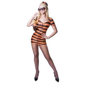 Dress up America - Disfraz de prisionera sexy para adultos, diseño rayas naranjas (336-S)