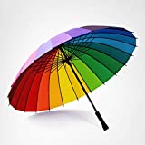XCWQ Regenschirm Frauen-Regenbogen-Regen-Regenschirm 24K Winddichter Langer Griff-Regenschirme Starker Rahmen Wasserdichtes Buntes -