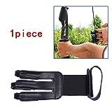 AZX Guantes Pantalla Flecha de Tiro con Arco, Deportivo Guante Protector de Flecha Tiro con Arco 3 Dedos,Color Negro