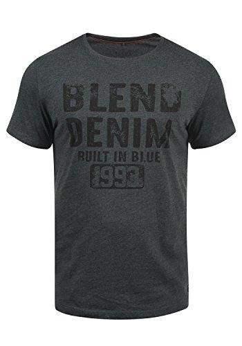 Blend Dano Herren T-Shirt Kurzarm Shirt Mit Print Und Rundhalsausschnitt, Größe:S, Farbe:Charcoal (70818)
