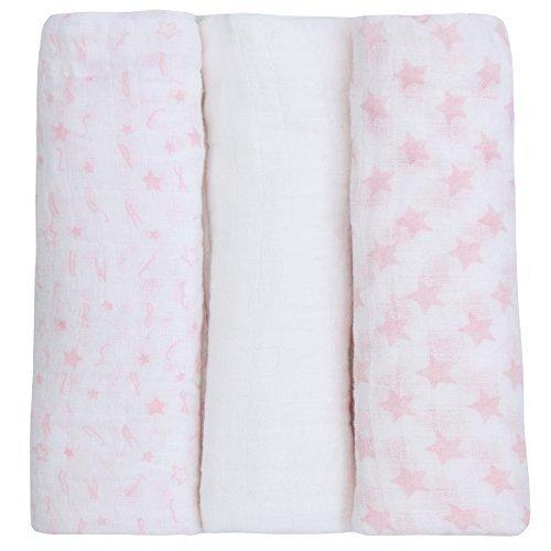 Neugeborenes Baby Musselin Tuch Quadrate (3er-Pack 76x76cm) 100% Baumwolle pucken Decke für Jungen & Mädchen - Rosa, Einheitsgröße 76x76cm