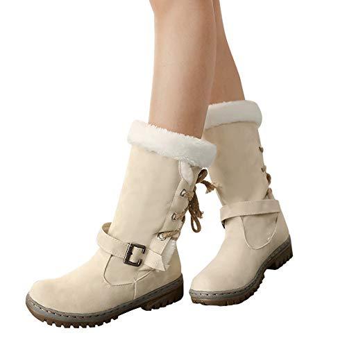 MYMYG Warmer Stiefel Schneestiefel Boots Flache Booties Schnalle -