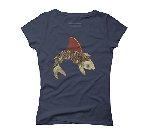 Shark fin Koi II Women's Graphic T-Shirt - Design By Humans Navy
