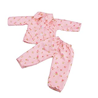 Doll Clothes, SHOBDW Hot! 2PCS Cute Cartoon Floral Stars Pajamas Sets Nightgown for 18 inch Our Generation American Girl Doll Clothes (Excluding Dolls) (D)