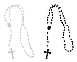 Akacha -Lot de 2 chapelet plastique croix crucifix collier fashion noir et blanc ,