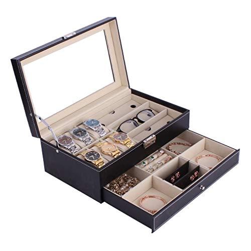 Watch-HLH Doppelschichten 6 + 3 Grids Uhr Glassess Halter PU Leder Uhrenbox Ringe Armband Lagerung Schmuck Display Schatulle