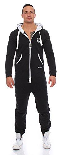 Gennadi Hoppe Herren Jumpsuit Onesie Jogger Einteiler Overall Jogging Anzug Trainingsanzug Slim Fit Schwarz