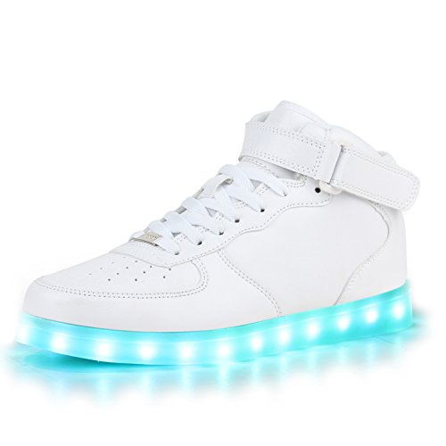 Blinkende LED Damen Herren Sneakers Low Multi Farbwechsel Leuchtend VanHill Weiss High