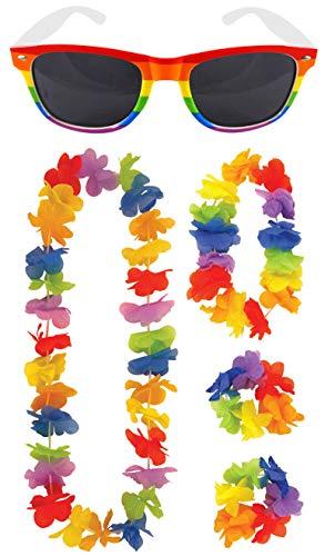 Labreeze Erwachsene Regenbogen Pride Gläser 4 Stück Hula Lei Blumengirlande Junggesellinnenabschied Set