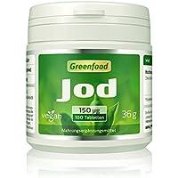 Greenfood Jod, 150 µg, normaler Tagesbedarf, 180 Tabletten – wichtig für eine normale Schilddrüsenfunktion, Hormonhaushalt und Nervensystem. OHNE künstliche Zusätze. Ohne Gentechnik. Vegan.