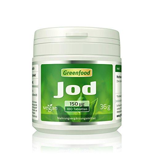 Jod, 150 µg, normaler Tagesbedarf, 180 Tabletten, vegan - wichtig für eine normale Schilddrüsenfunktion, Hormonhaushalt und Nervensystem. OHNE künstliche Zusätze. Ohne Gentechnik.
