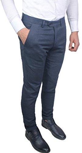 Pantaloni uomo sartoriali grigio blu rigato quadri slim fit invernali casual eleganti jeans con risvolto (52)