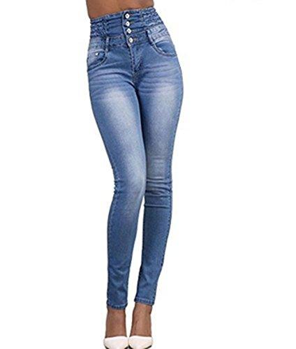 LAEMILIA Pantalons Femme Denim Printemps Jeans Slim Taille Haute Leggings Sexy Collant Crayon Déchirés (FR36=Tag S, Bleu Clair)
