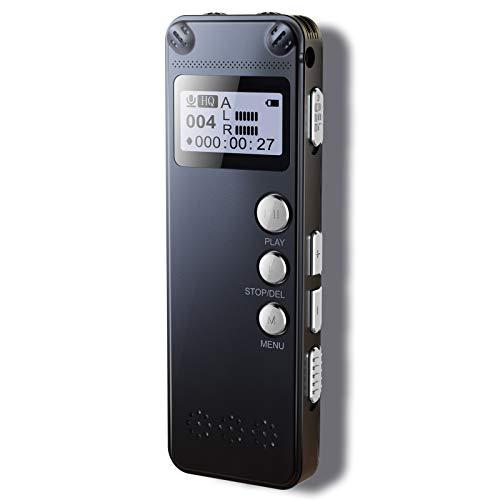 LaHuKo Grabadora de Voz Digital Portatil, diseño de metal, 8 GB,grabación HD de 1536kbps,reducción de ruido,MP3, activación automática, batería recargable