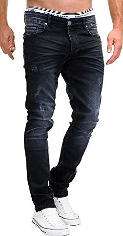 MERISH 5-Pocket Denim Jeans Herren Slim Fit Used Design Modell J3014 Schwarz 36-32