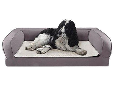 Firm Orthopaedic Dog Bed in Grey – Memory Foam – Helps to Protect your Dog's Joints and Promotes Restful Sleep Ideal for Older Dogs