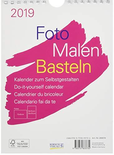 FMB weiß 15 x 21 269019 2019: Fotokalender zum Selbstgestalten   Aufstellbarer do-it-yourself Kalender mit festem Fotokarton