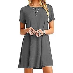 OMZIN Damen Sommerkleid Lockeres Shirtkleid Basic Longshirt Rund Ausschnitt T-Shirtkleid,Grau,S