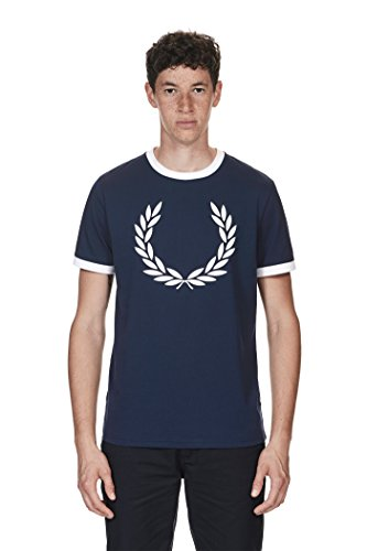 Fred Perry Laurel Wreath Ringer Tee shirt Carbon Blue, T-shirt - M (Fred Perry Tees Männer)