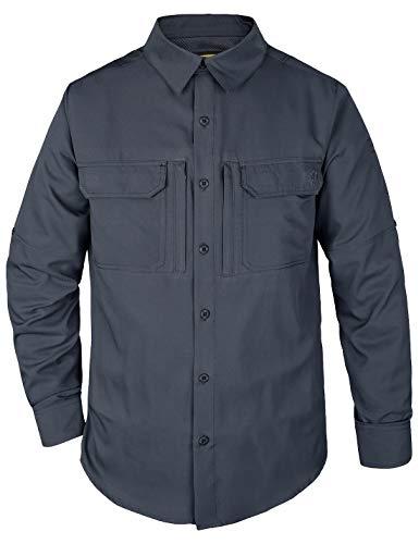 HARD LAND Hardland Herren taktisches Hemd, schnelltrocknend, leicht, UV-Schutz, langärmelig - schwarz - 3X-Groß -