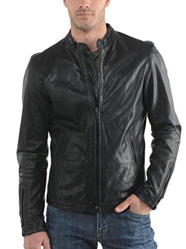 Herren Leder Jacke Biker Motorrad Mantel Slim Fit Jacken, auk001 Gr. X-Small, schwarz (Herren Leder-junction-jacke)