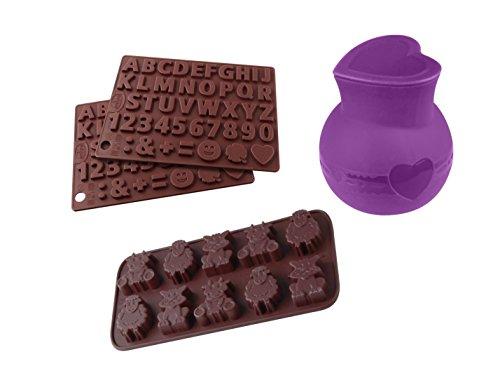 Dr. Oetker Silikon-Set Schokoladige Momente, hochwertige Silikonformen für Tortendekoration, Buchstaben, Zahlen und Tiere zum Naschen, Schmelztöpfchen zum einfachen Befüllen, (Menge: 1 x 4er Set)