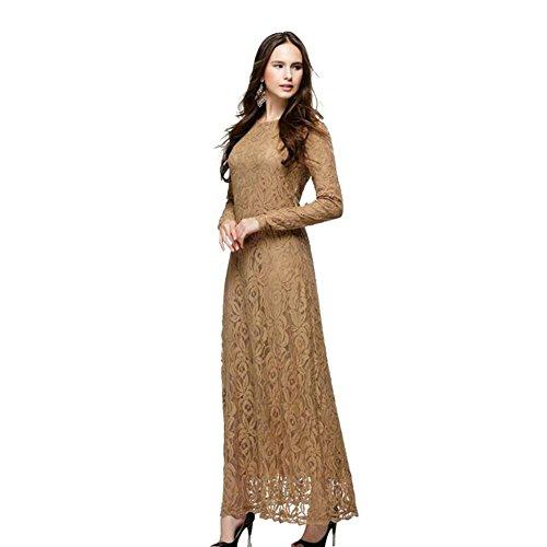 Meijunter Donne Musulmano Abaya Vestito Arab Islamic Lace Manica lunga Abbigliamento Robes Khaki