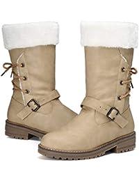 gracosy Damen Schneestiefel, Stiefeletten Damen mit Absatz Winter Fell  Gefüttert Kuschelig Warme Schuhe Rutschfest Keilsohle 9a4c3cd67b