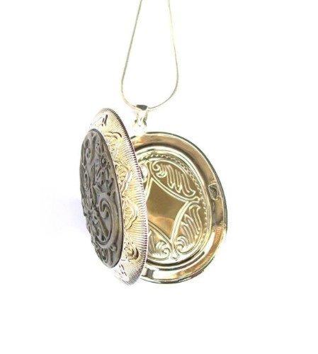 Gran ovalada vintage estilo victoriano antiguo plateado Flor camafeo con cadena de serpiente collar joyas