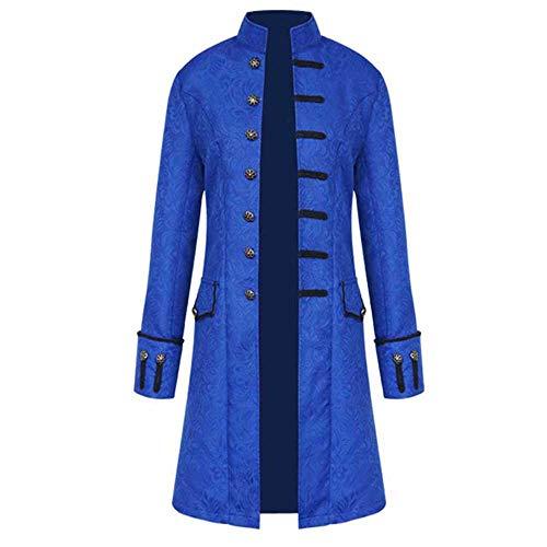 en Mantel Punk Retro Mäntel Langarm Jacke Mittellang Mittelalter Kostüm Cosplay Uniform Für Männer Slim Fit Winter Trenchcoat Parkajacke Overcoat ()