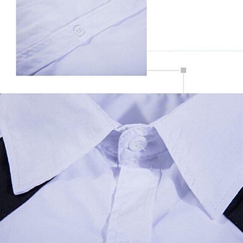 Honghu Herren Langarm Casual Slim Fit Business Hemd Weiß
