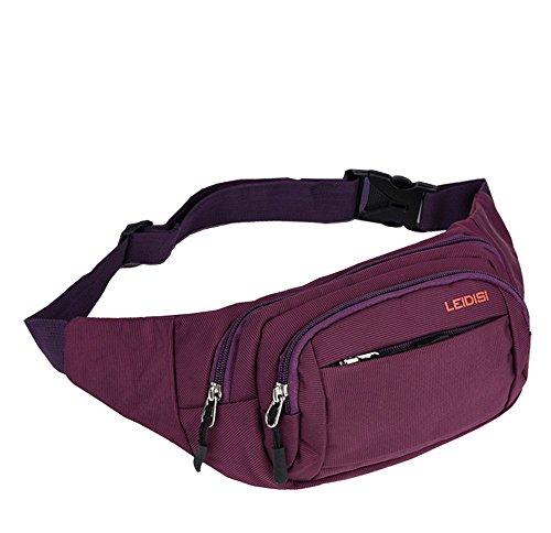 Wewod Herren Outdoor Oxford Tuch Bauchtasche Einfarbige Waist Bag Multifunktionale Gürteltasche Freizeit Hüfttasche lila
