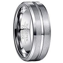 NUNCAD 8mm Silver Men's/Women's Tungsten Engagement Band Silver Matte Finish Bevled Edges Size Z½