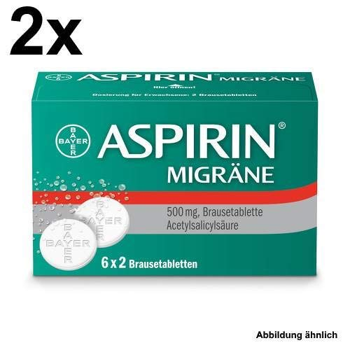Aspirin Migräne Spar-Set 2x 6x2Brausetabletten. Zuverlässige Hilfe bei Migräne - mit und ohne Aura. -